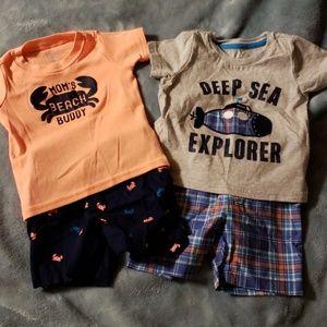 2 baby summer shirt and short sets